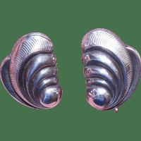 1950s STERLING SILVER Earrings - True Left & Right Waves ...