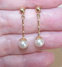 Vintage 14K Gold & 6mm Cultured Pearl Drop Earrings! from ...