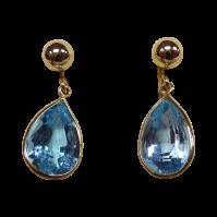 14k Blue Topaz Vintage Screwback Earrings from bejewelled ...