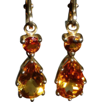 14k YG Madeira Citrine Teardrop Pierced Earrings from ...