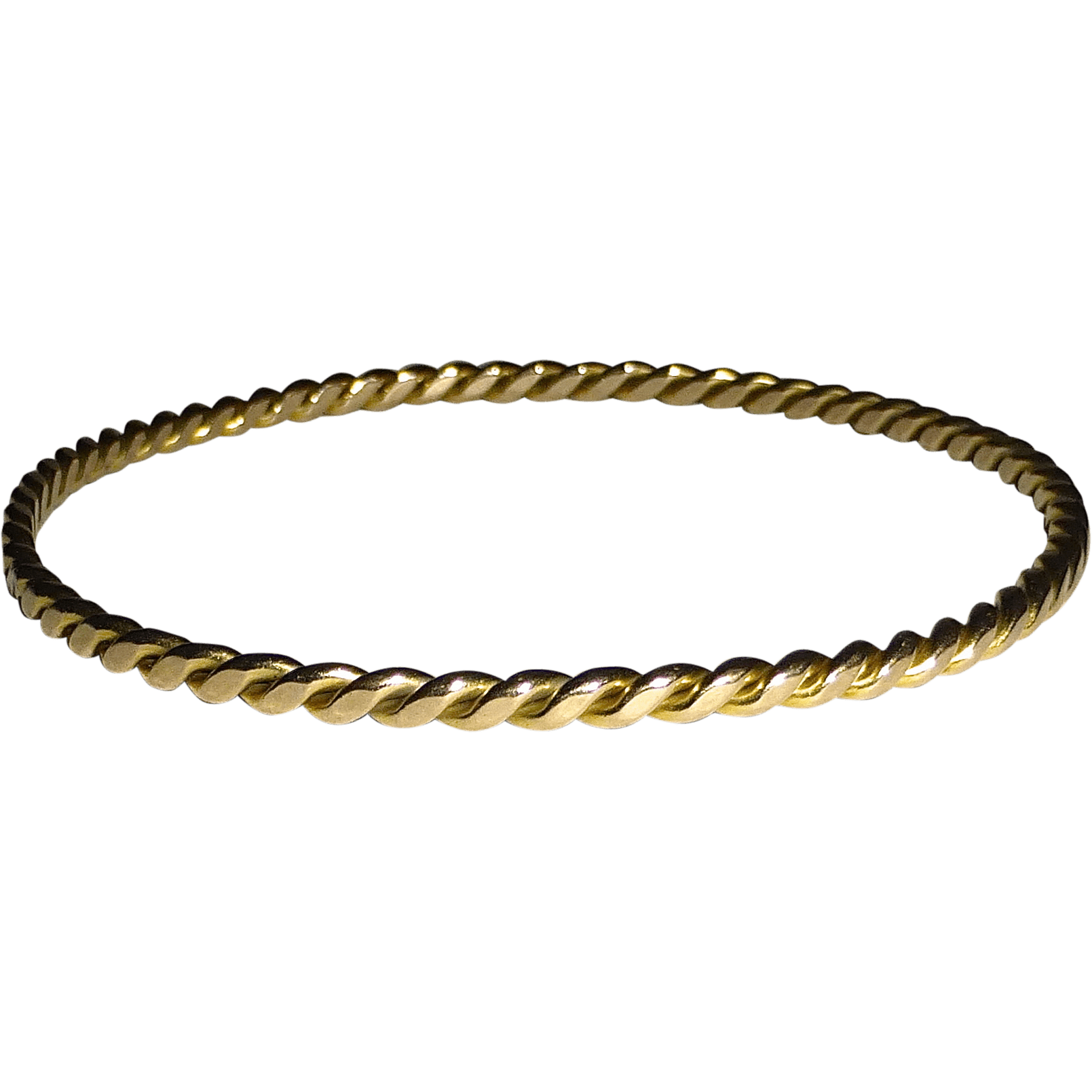 14k Yellow Gold Twisted Wire Bangle Bracelet From