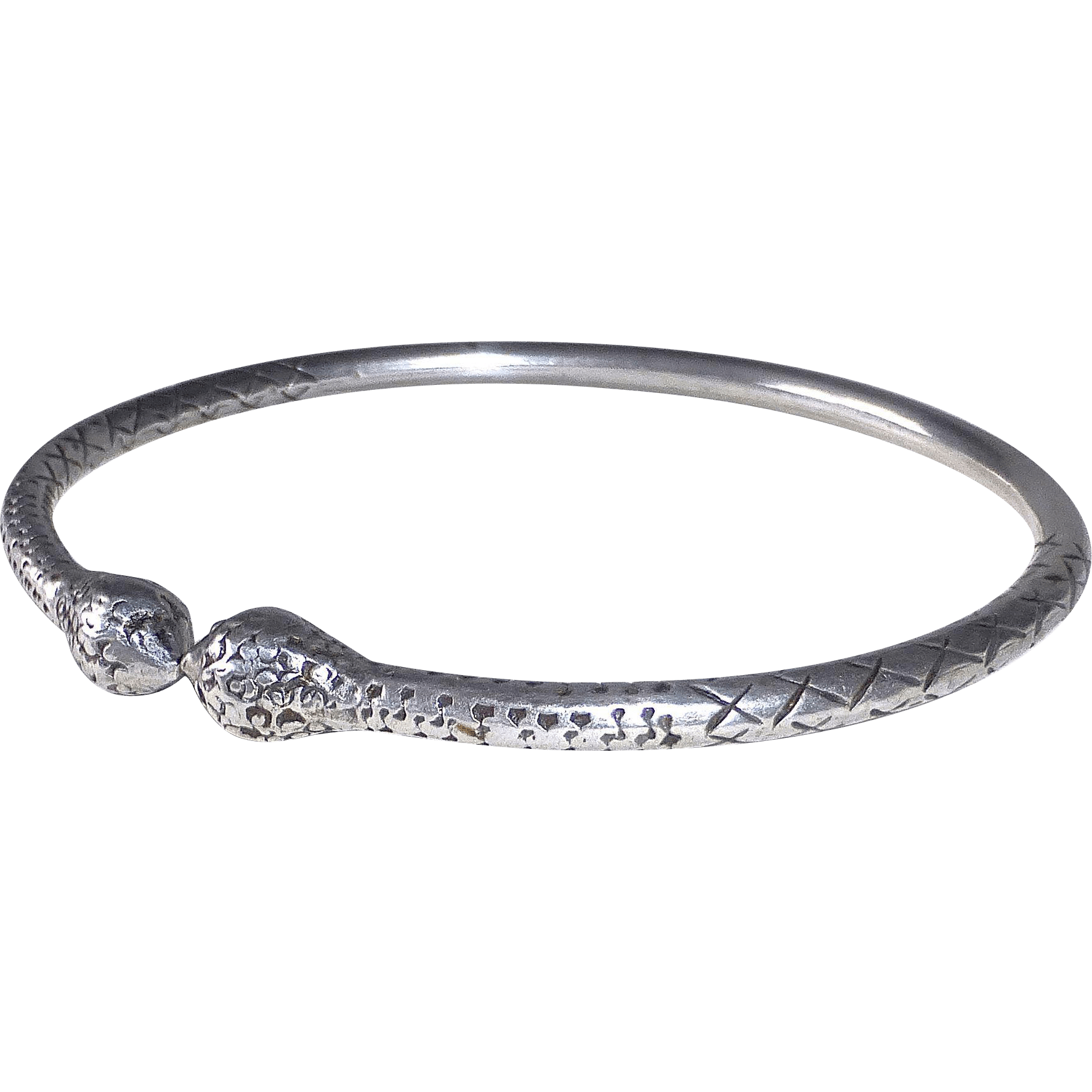 Ethnic Sterling Silver Open Bangle Bracelet From