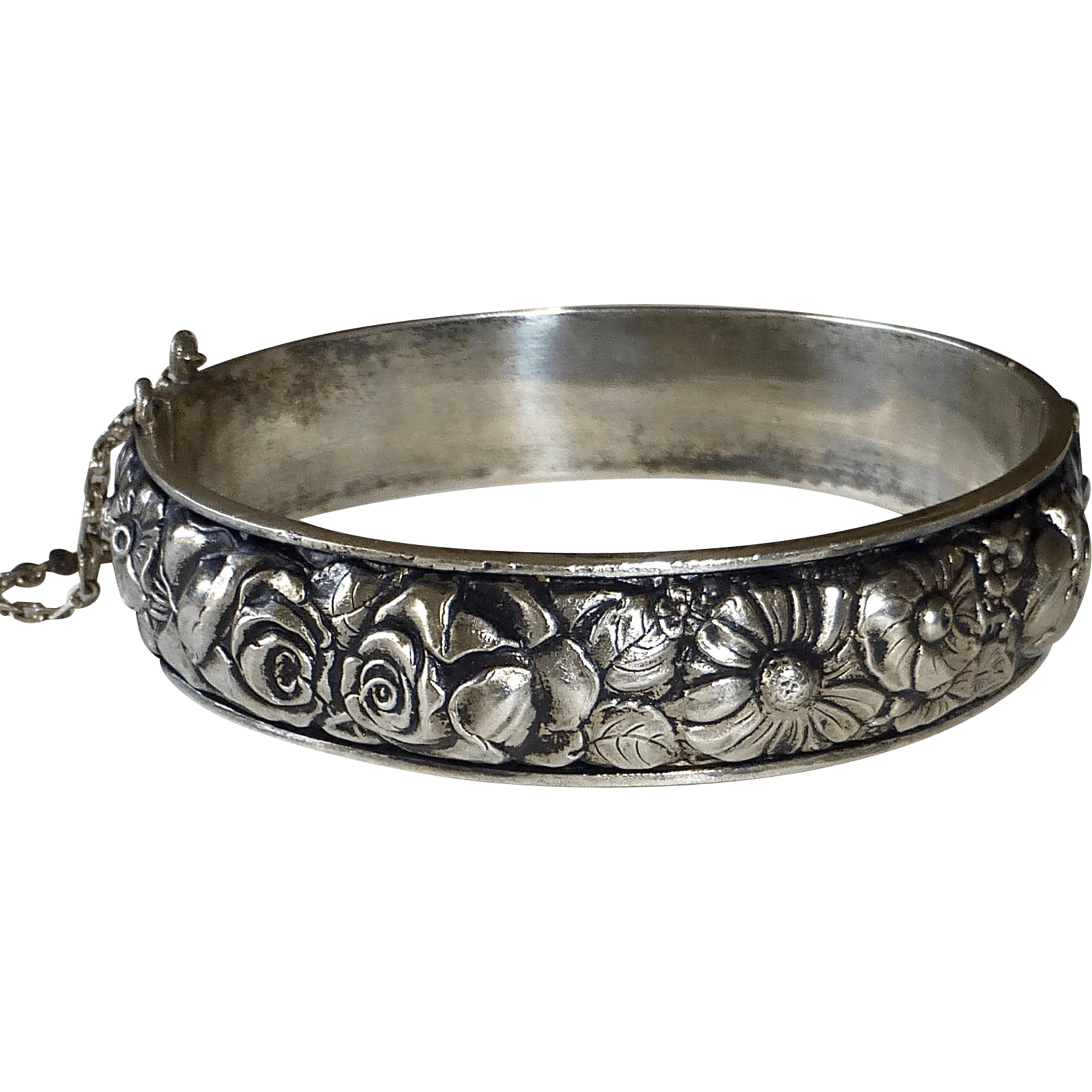 French Sterling Hinged Flower Garden Repousse Bangle from
