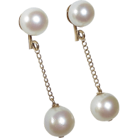 14k Yellow Gold Pearl Drop Earrings from bejewelled on ...