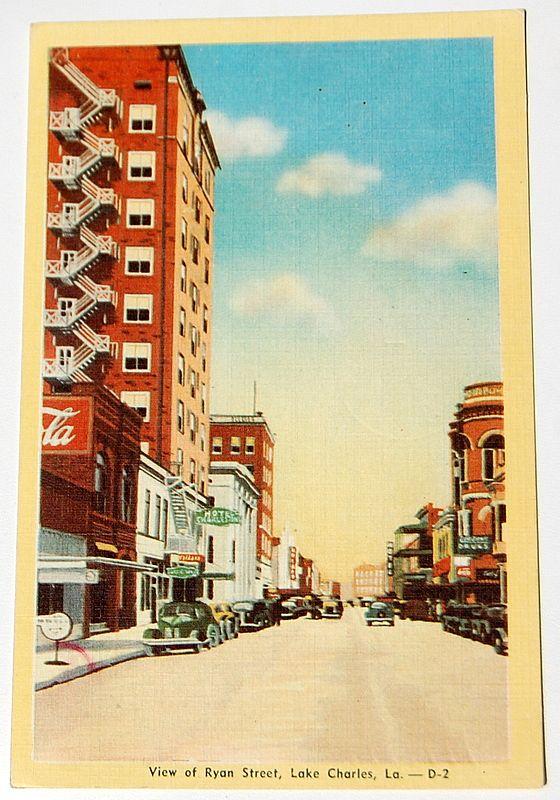 Vintage Postcard Ryan Street Lake Charles Louisiana From