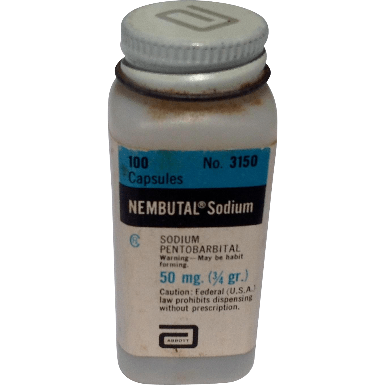 Vintage 1960S Nembutal Sodium Plastic Bottle From