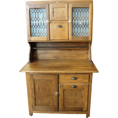 Vintage Kitchen Hutch Counter Height Table Antique Boone Oak 2 Piece Cabinet From