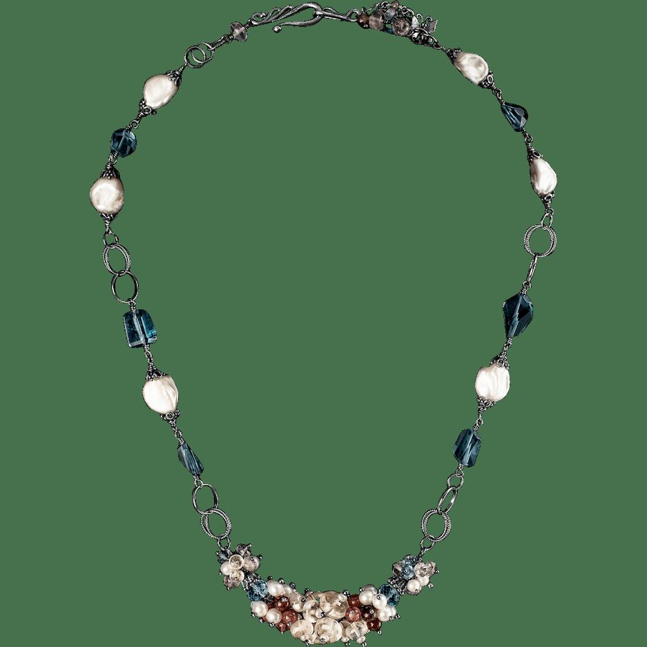 Moonstone, Freshwater Pearl, Tourmaline Topaz Sterling