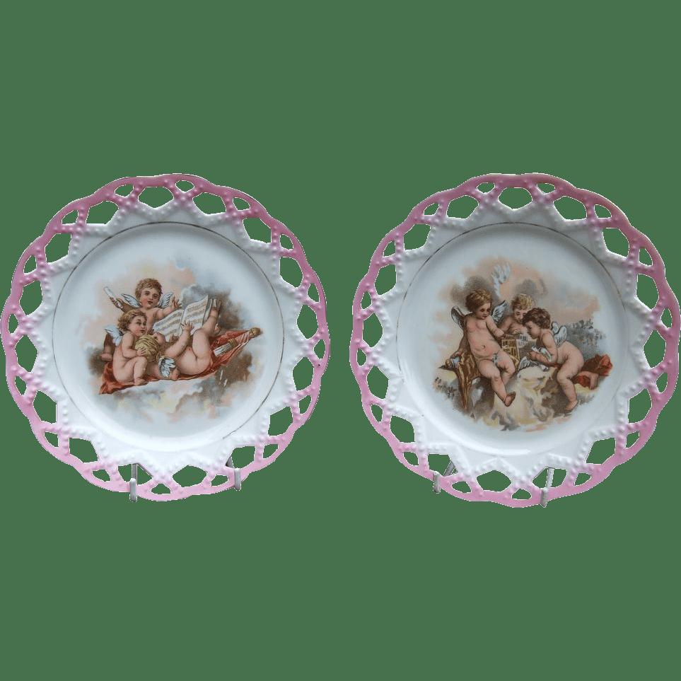 Antique Porcelain Ribbon Plate Printed Cherubs Music