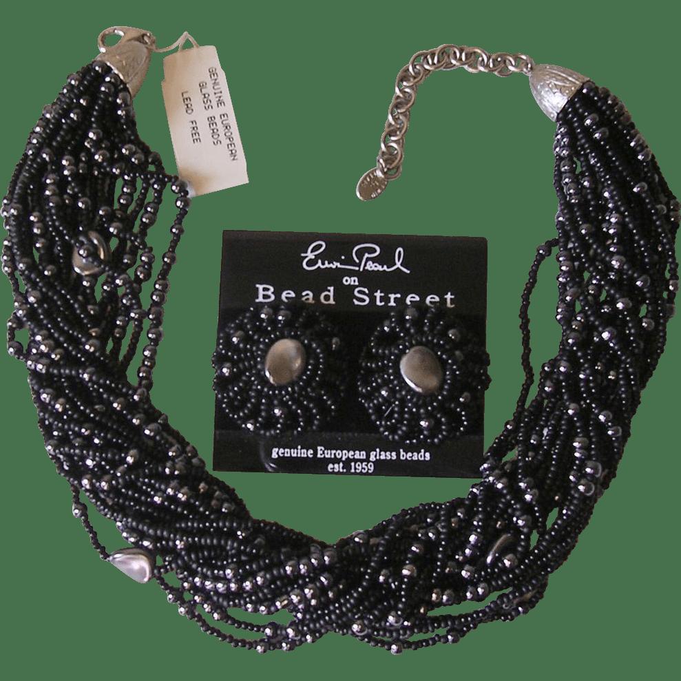 Erwin Pearl Black Imitation Pearl Torsade Necklace
