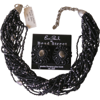 Erwin Pearl Black Imitation Pearl Torsade Necklace