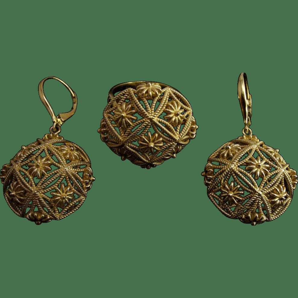 Custom Italian 18K Yellow Gold Filigree Ring Amp Earrings