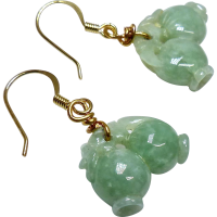 Carved Green Jade Double Peach Drop Earrings from