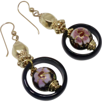 Vintage Chinese Cloisonne and Black Onyx Drop Earrings ...