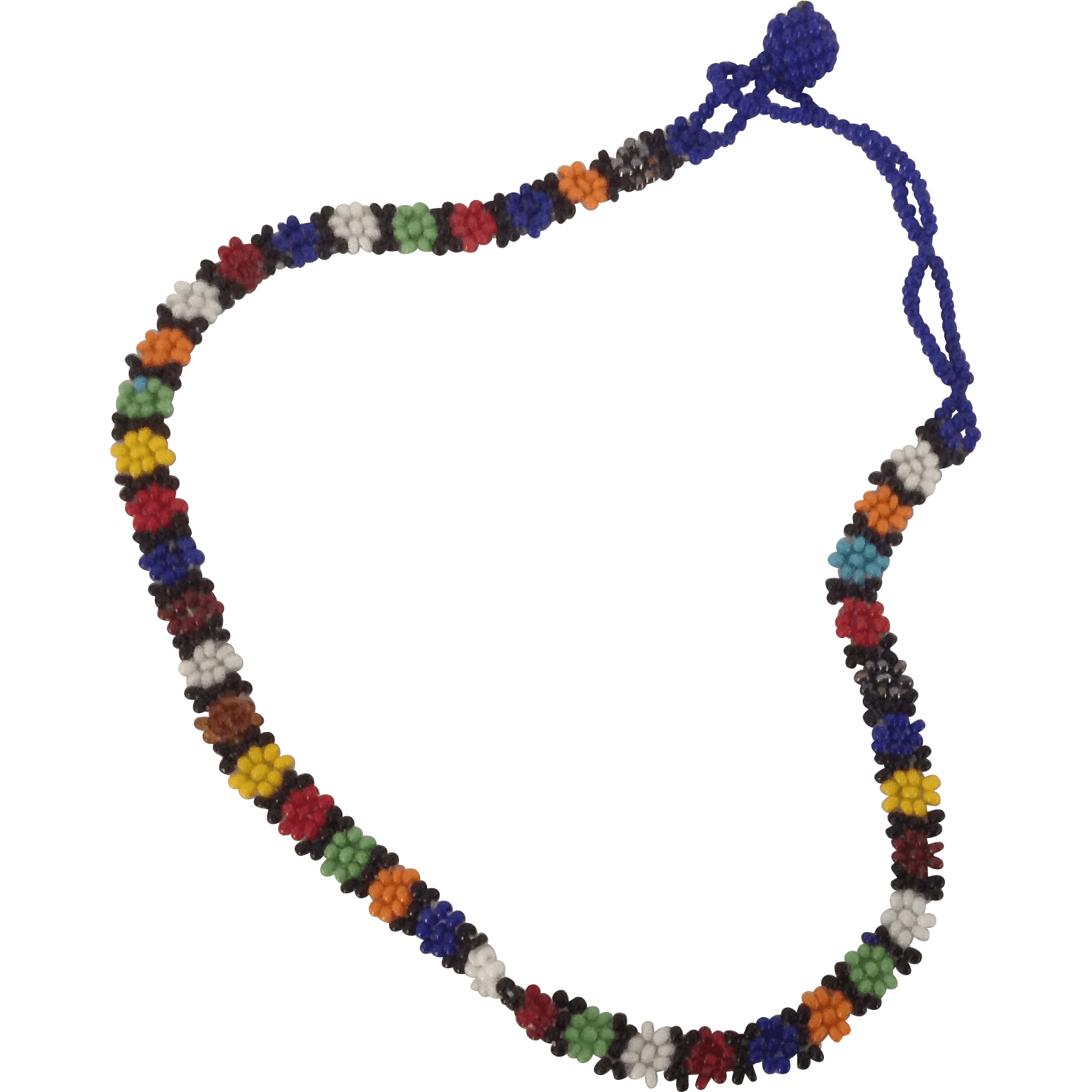 Vintage multicolored seed bead choker or childs necklace from carolynstt on Ruby Lane
