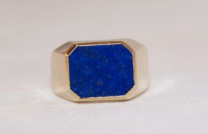 Mens 14K Gold Lapis Lazuli Ring from cassies on Ruby Lane