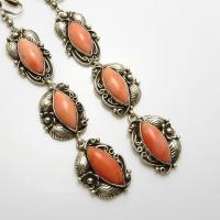 Long Vintage Sterling Silver Coral Indian Earrings Clip On ...
