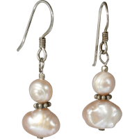 Pink Freshwater Pearl Dangle Earrings from catisfaction on