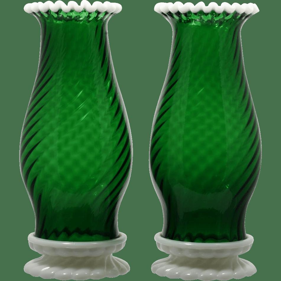 Fenton Green Glass Hurricane Lamps