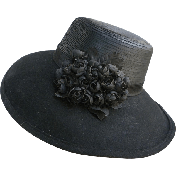 Vintage Whittall & Shon Designer Black Felt Hat With