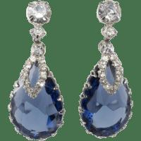 Sapphire Blue Rhinestone Dangle Earrings SOLD