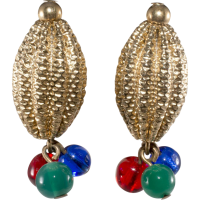 Napier Jewel Tone Bead Earrings with Ribbed Ovals SOLD on ...