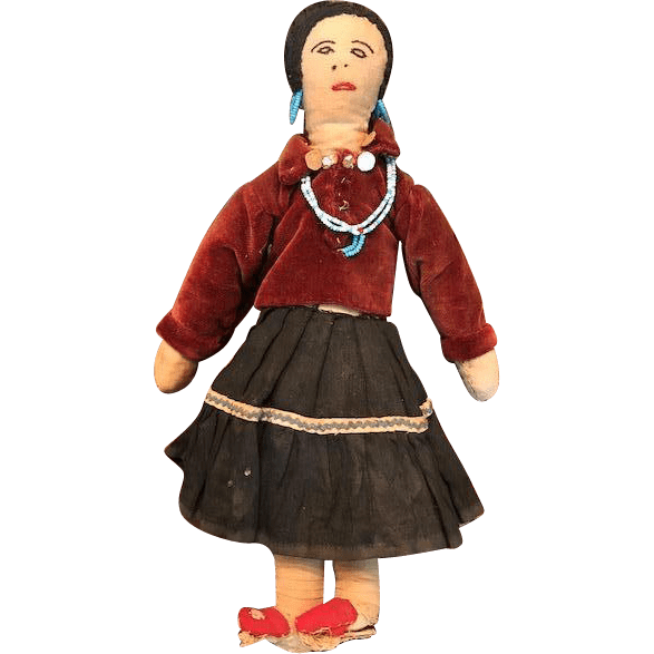 Vintage Cloth Native American Made Navajo Doll From