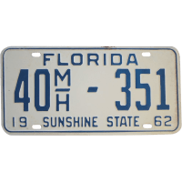 Vintage 1962 Florida License Plate from rubylane
