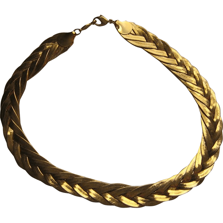 Vintage Napier Necklace Braid Weaved Gold Plated 17inches