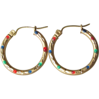 Vintage 10k Gold & Enamel Hoop Earrings SOLD on Ruby Lane