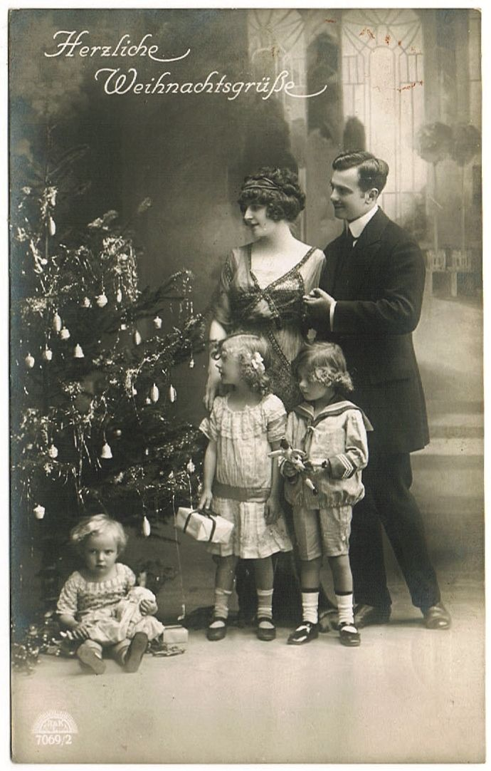 Vintage Xmas Postcard Family With Kids And Doll From