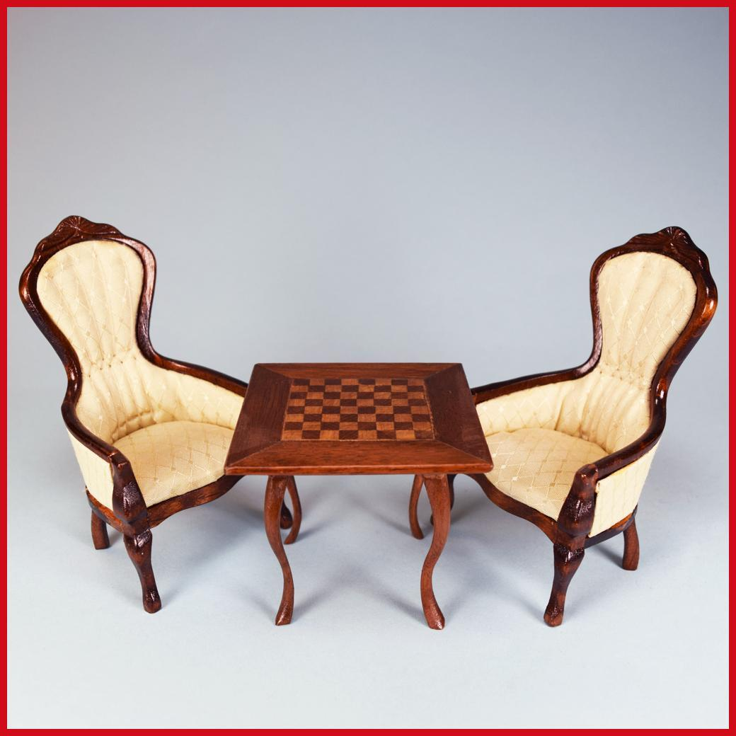 chess table and chairs low wooden pair of concord miniatures dollhouse gents