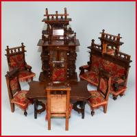 8 Piece Wooden Antique German Dollhouse Furniture Set Late