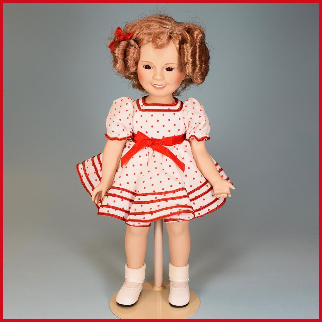 """14"""" Porcelain Shirley Temple Doll Danbury Mint Stand"""