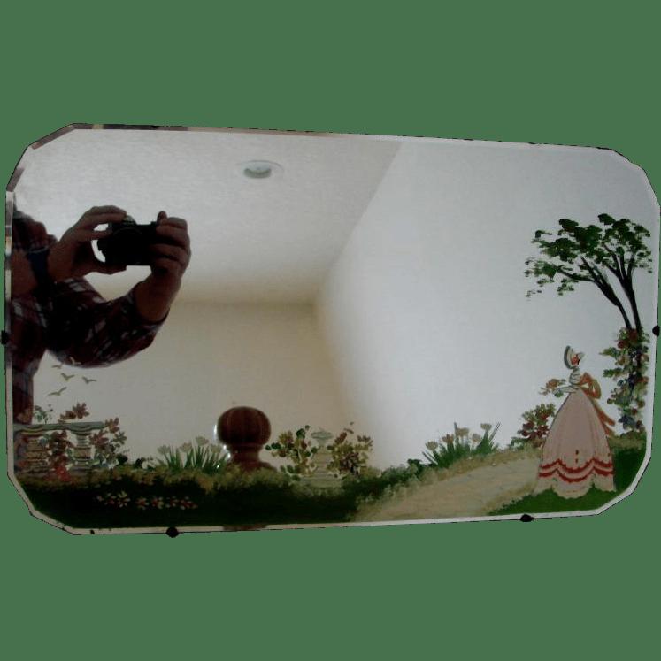 Scottish Beveled Wall Mirror Hand Painted Garden Scene w