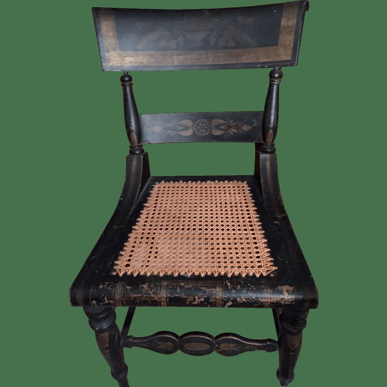 Pr Of Original Antique Hitchcock Chair .stenciling