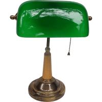 Classic Art Deco Bankers Lamp with Green Glass Shade from ...