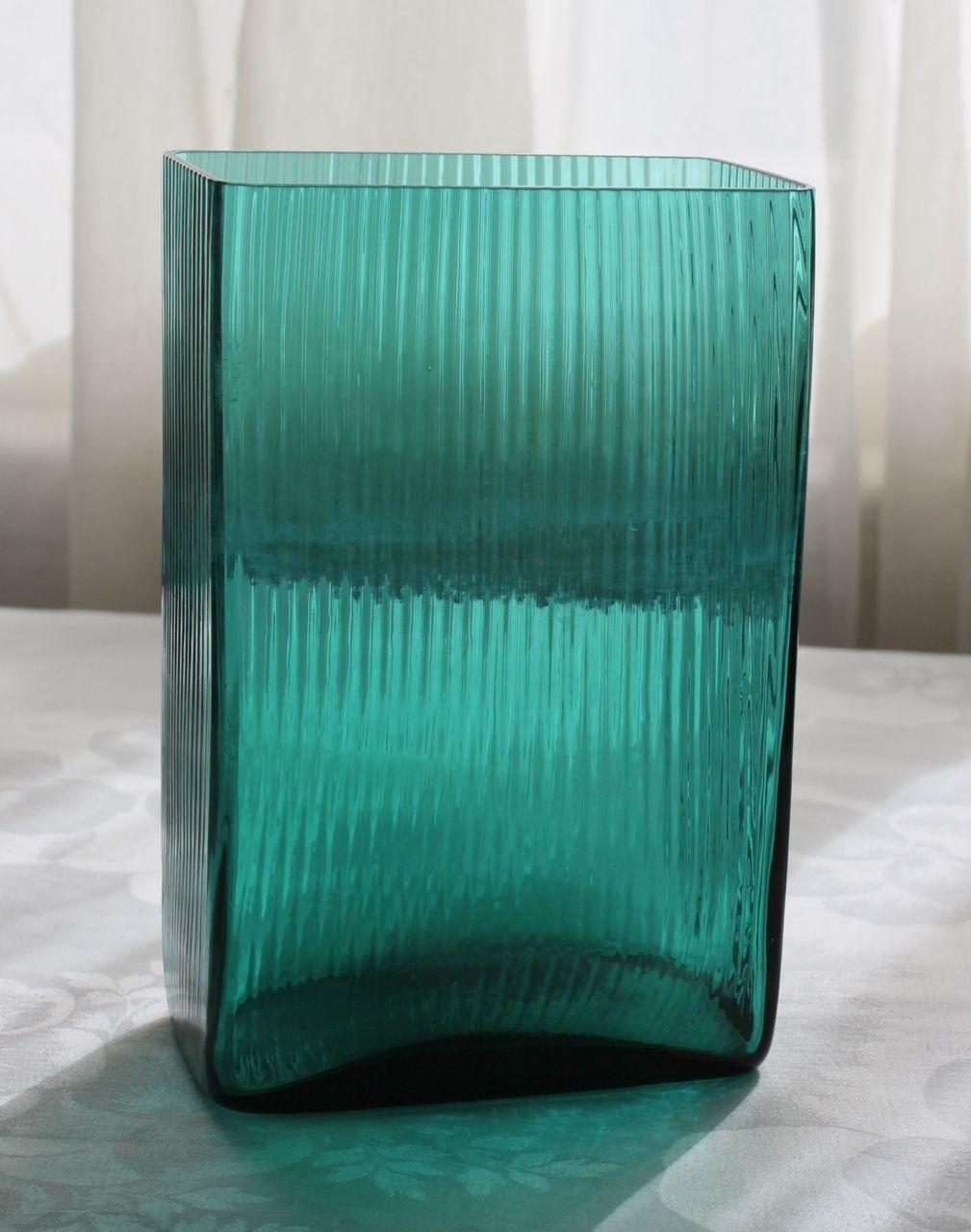 Mid Century Modern Blue Glass Vase