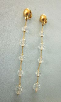 "Stunning Vintage Crystal 4"" Long Shoulder Duster Drop ..."