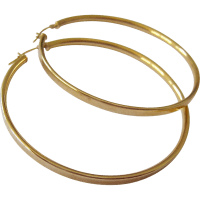 Large 14K Gold Hoop Earrings with Snap Bar Closure Signed ...