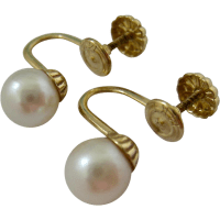 14K Gold Cultured Pearl Screw Back Earrings Signed from ...