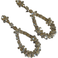 Vintage Rhinestone Diamond Dangle Screw On Earrings from ...