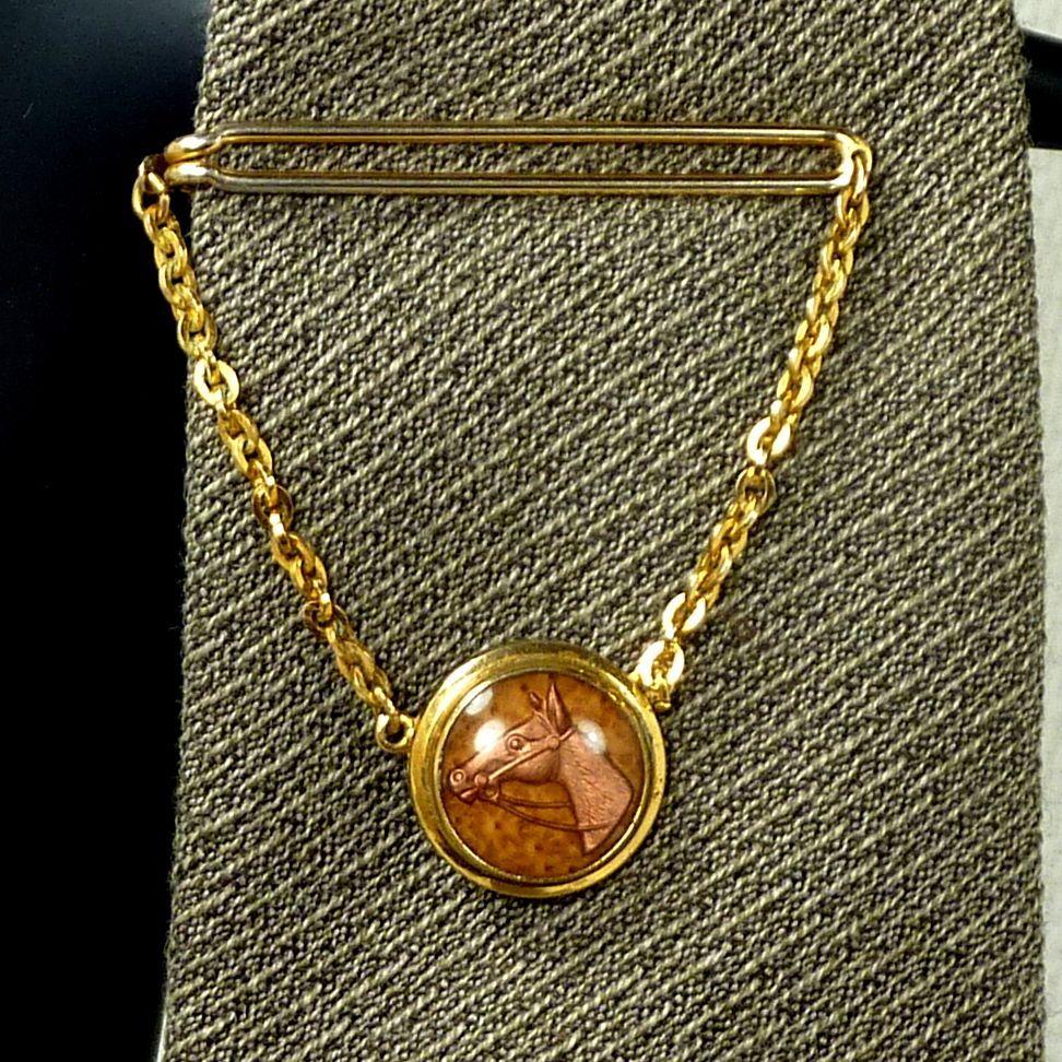 Swank Equestrian Horse Tie Chain Bar Clip 1930