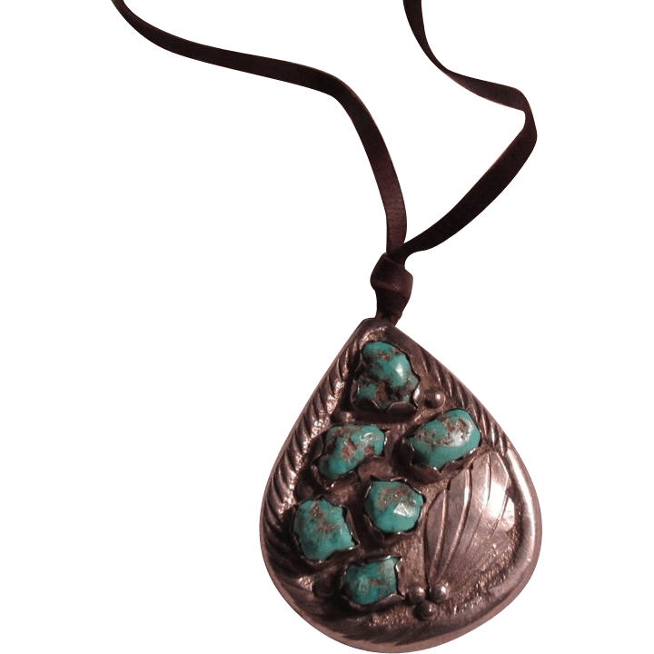 Native American Sterling Silver Turquoise Pendant Pin