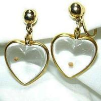 Glass Heart Mustard Seed Earrings from antiques-jewelry ...