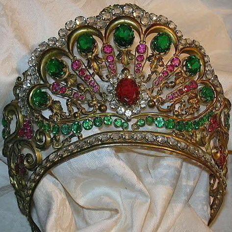 Old Italian Jeweled Crown For Santo Saint Virgin Mary