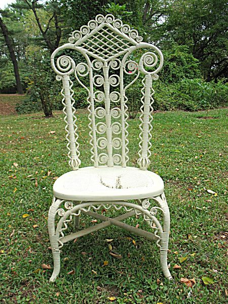 Antique Victorian Wicker Reception Chair Circa 890s from