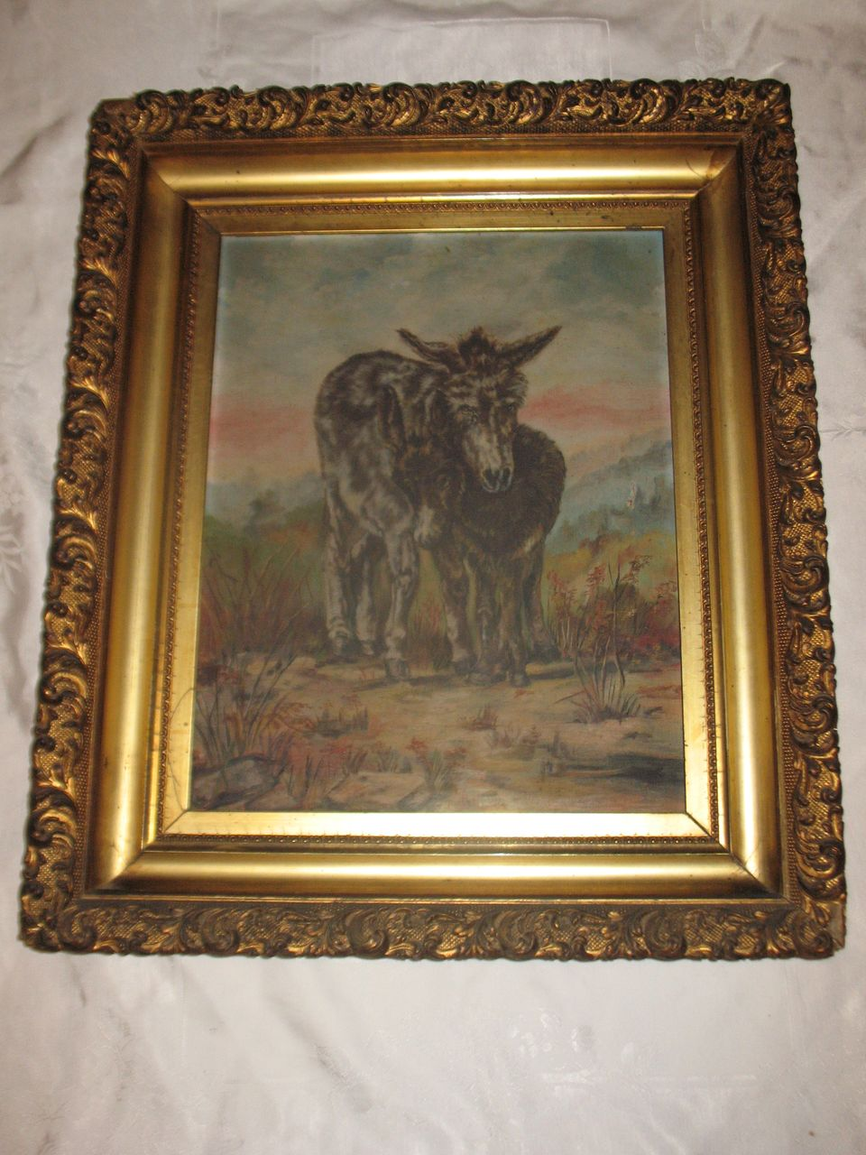 Antique Oil Painting Burros Donkeys SouthWest Landscape Desert Circa from dovetail on Ruby Lane