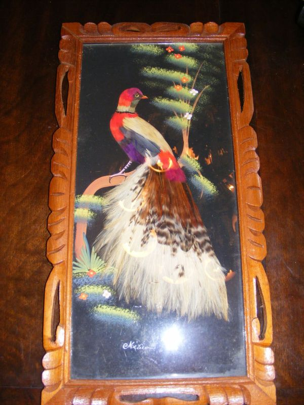 Vintage 1950' Mexico Craft Feather Art And Oil Painting Portrait E3antiques Ruby Lane