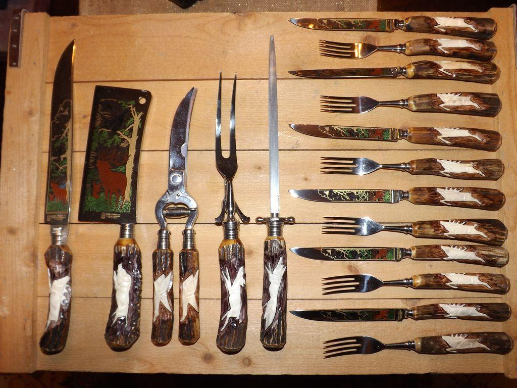 red kitchen knife set stainless steel sink reviews beautiful anton wingen jr. othello antler handle flatware ...